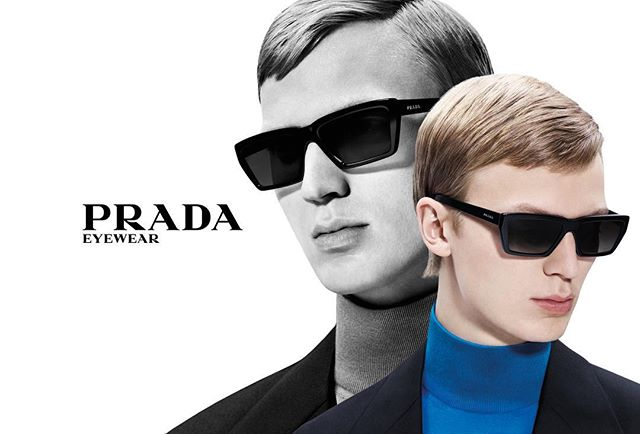 Jonas G (@jonasgloeer) for Prada Eyewear Spring/Summer 2019. Photography by Willy Vanderperre, styling by Olivier Rizzo, hair by Duffy, makeup by Aaron de Mey and casting by Ashley Brokaw.