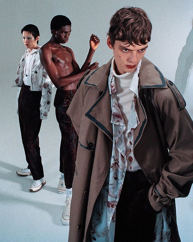 Leon D (@leondame) for Feng Chen Wang's Autumn/Winter 2019 campaign. Photography by Hugo Comte, styling by Anders Sølvsten Thomsen, hair by Nao Kawakami, makeup by Lucy Burt and casting by Arianna Pradarelli.