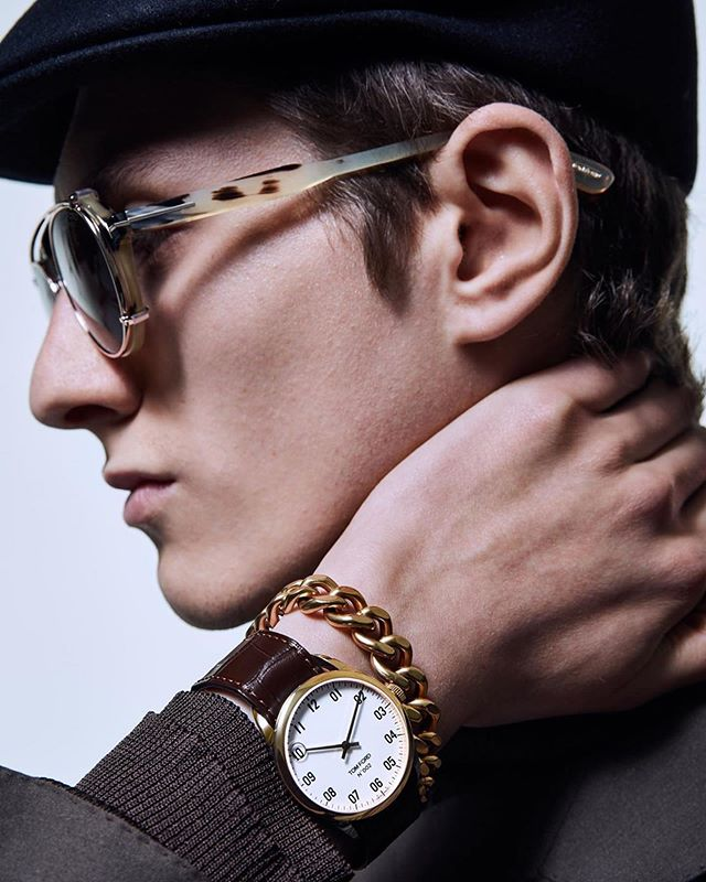 Henry (@henrykitcher) for Tom Ford Timepieces AW19. Photography by Christian Ferretti, styling by Vanessa Chow, hair by Shingo Shibata and makeup by Fulvia Farolfi.