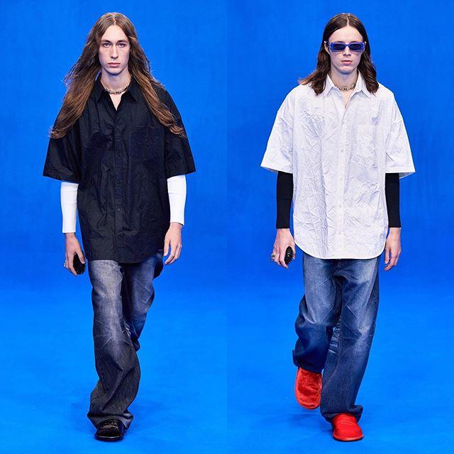 Daniel B (@defnotdaniel) and Ewan (@ewanmurray) for Balenciaga SS20. Hair by Gary Gill and makeup by Inge Grognard. Thank you @demnagvasalia and @mrt4000.