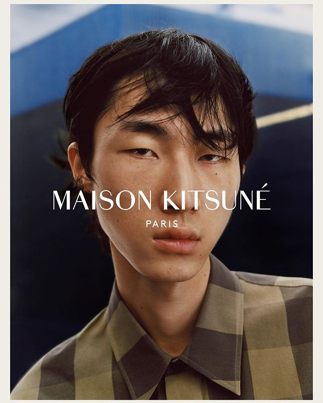 Han Ji (@hannxji) for Maison Kitsuné's Spring/Summer 2020 campaign. Photography by Sam Rock, styling by Vanessa Reid, hair by Benjamin Muller, makeup by Nami Yoshida and casting by Calvin Wilson @ Establishment.