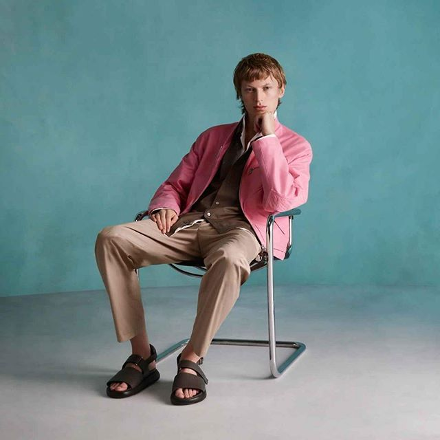 Jonas G (@jonasgloeer) for Hermès' Menswear Spring/Summer 2020 campaign. Creative direction by Thomas Persson, photography by Sølve Sundsbø, styling by Beat Bolliger and grooming by Sebastien Richard.