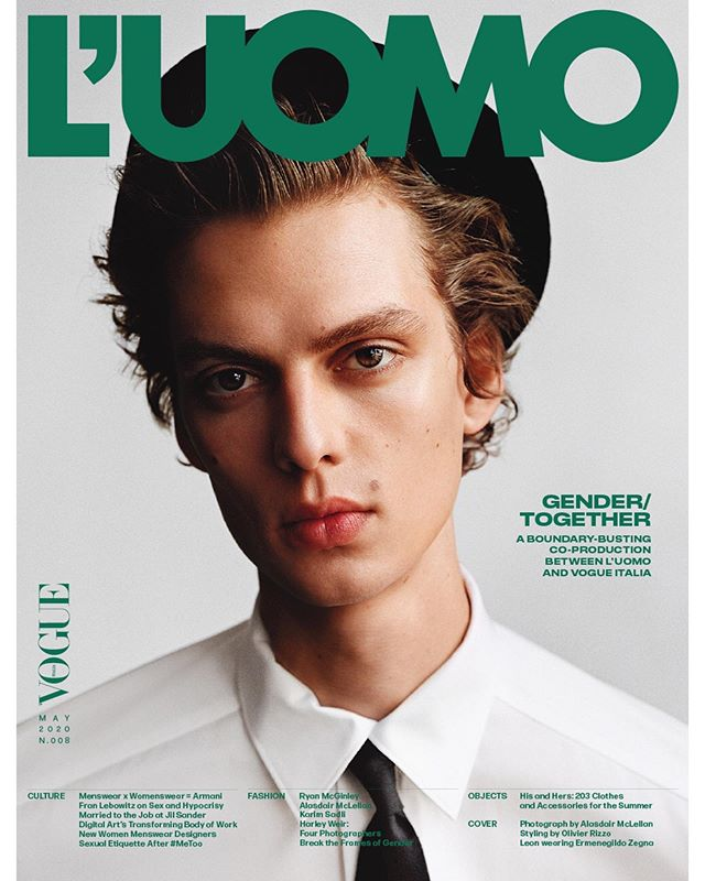 Leon D (@leondame) for L'Uomo Vogue's May 2020 cover. Creative direction by Thomas Persson, photography by Alasdair McLellan, styling by Olivier Rizzo, hair by Anthony Turner, makeup by Lynsey Alexander and casting by Piergiorgio Del Moro, Samuel Ellis Scheinman and Helena Balladino for DMCASTING.