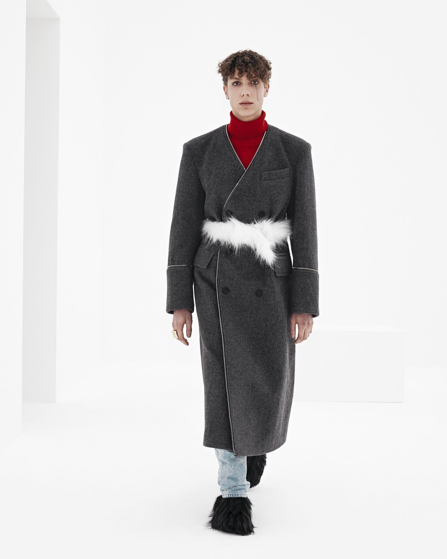 Finn (debut) for WE11DONE FW21. Photography and direction by Willy Vanderperre,  styling by Olivier Rizzo, hair by Anthony Turner,  makeup by Karin Westerlundd,  manicure by Anatole Rainey, casting by Ashley Brokaw.