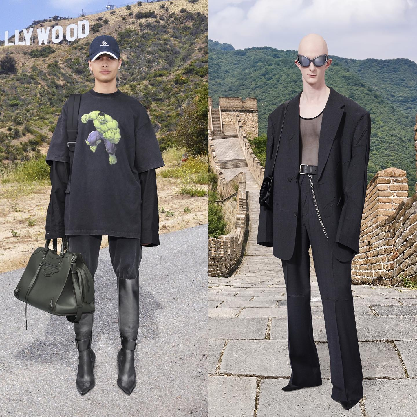 Guiaume and Hansi for Balenciaga Winter 21. Photography by Patrick Welde, hair by Holli Smith, makeup by Inge Grognard.