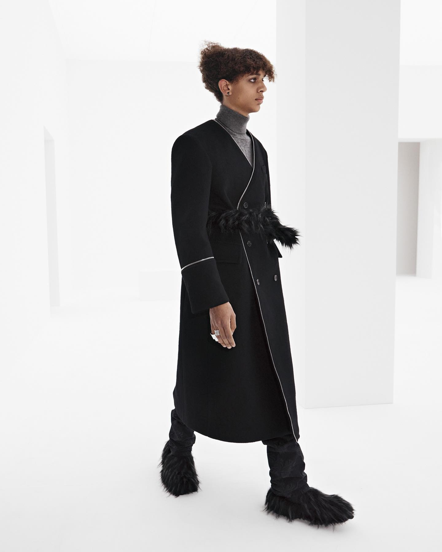 Joshua for WE11DONE FW21. Photography and direction by Willy Vanderperre, styling by Olivier Rizzo, hair by Anthony Turner, makeup by Karin Westerlundd, manicure by Anatole Rainey, casting by Ashley Brokaw.